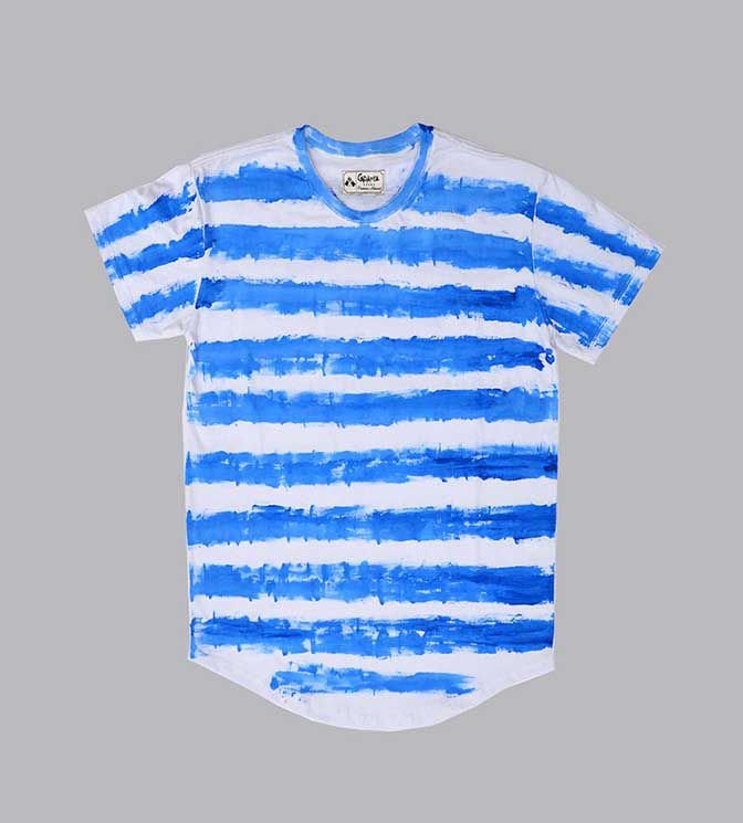 Camiseta longline listrada azul