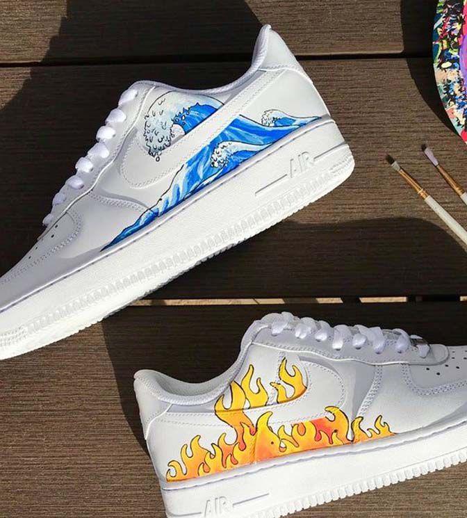 Nike Air Force custom fogo Água