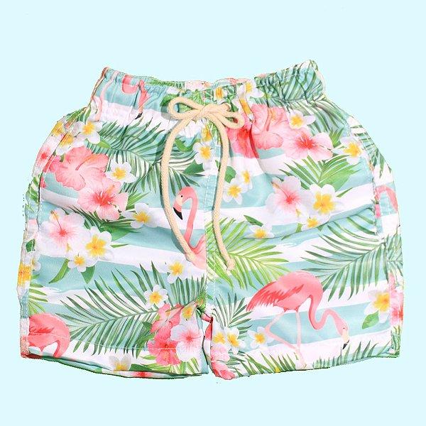 Short Estampado - Flamingo Florido - J3 Wear 0256ebf46db58