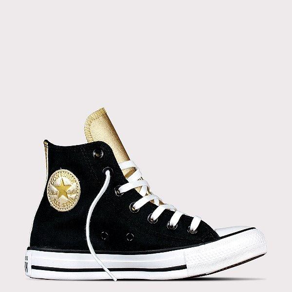 Tênis Converse All Star Chuck Taylor Hi - Preto/Ouro Claro