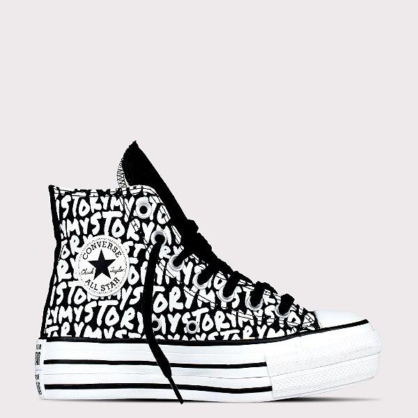 Tênis Converse All Star Chuck Taylor Hi Lift - Preto/Amêndoa