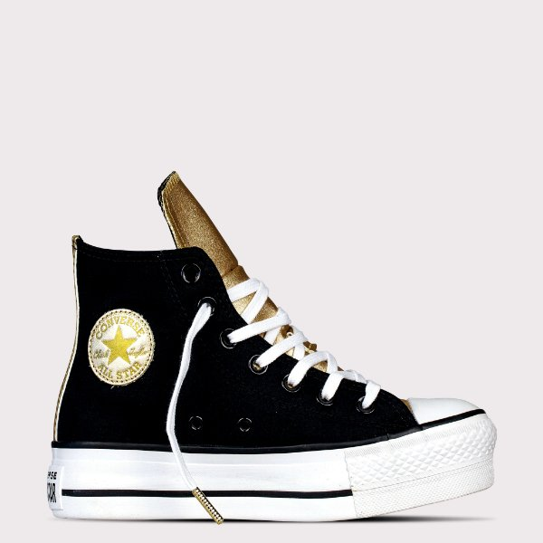 Tênis Converse All Star Chuck Taylor Hi Lift - Preto/Ouro Claro