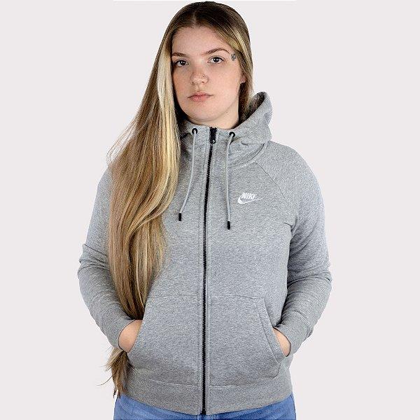 Blusão Nike Feminina Essential Hoodie - Cinza