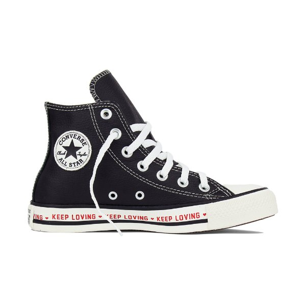 0a28c320d6 Tênis Converse All Star Cano Alto Chuck Taylor Couro Keep Loving - Preto