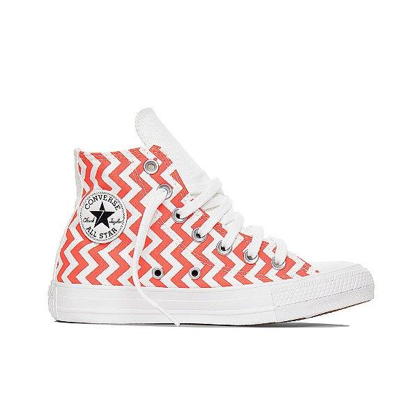 Tênis Converse All Star Chuck Taylor Hi - Listrado Branco/Vermelho Brilhante