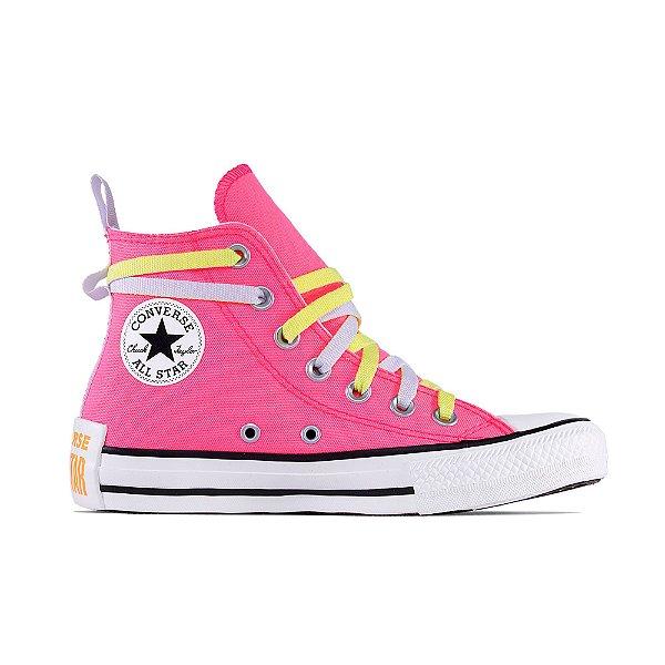 Tênis Converse All Star Chuck Taylor Hi - Rosa Fluor/Amarelo Fluor