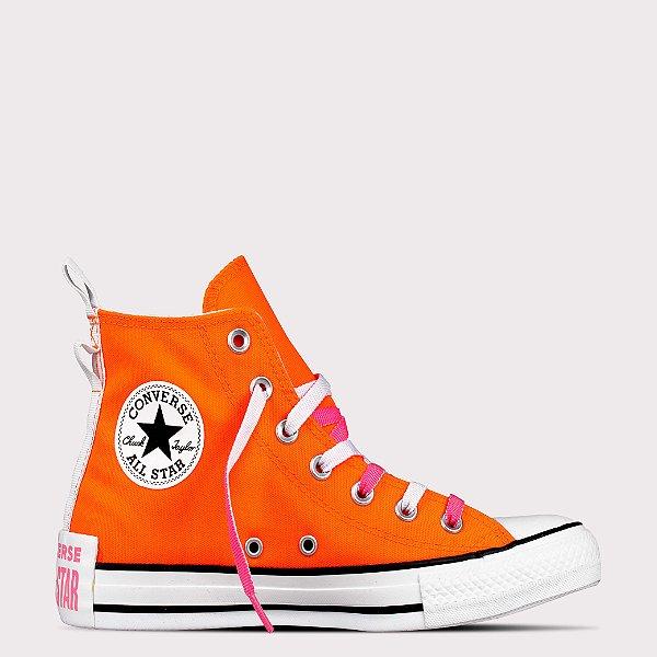 Tênis Converse All Star Chuck Taylor Hi - Laranja Fluor/Rosa Fluor