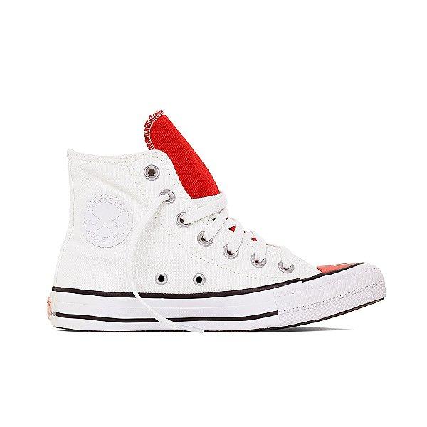 Tênis Converse All Star Chuck Taylor Hi - Branco/Vermelho
