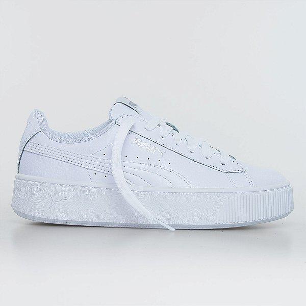 Tênis Puma Vikki Stacked Leather - White