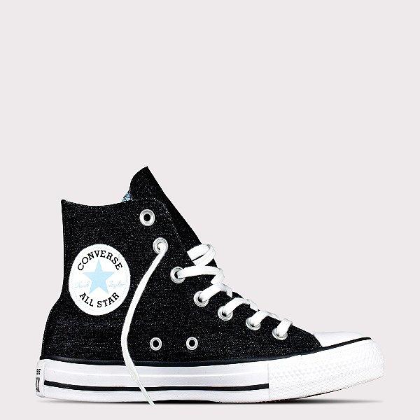 Tênis Converse All Star Chuck Taylor Hi - Preto/Azul Claro