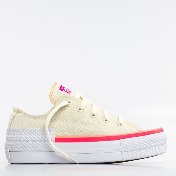 Tênis Converse All Star Chuck Taylor Lift - Bege Claro/Coral