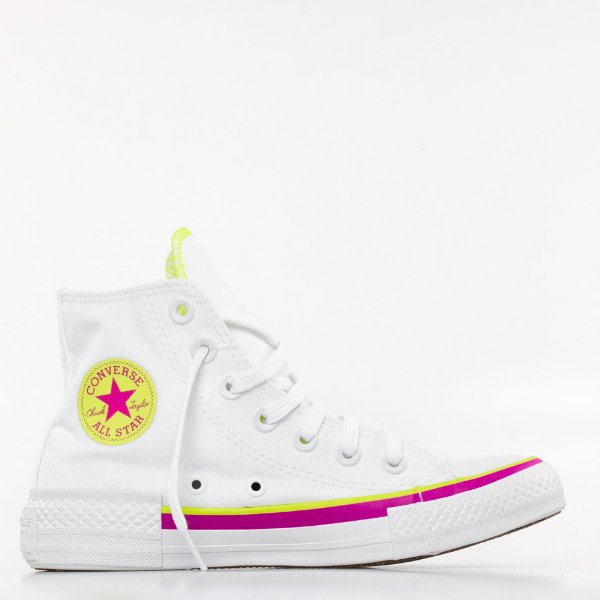 Tênis Converse All Star Chuck Taylor Hi - Branco/Verde Flúor