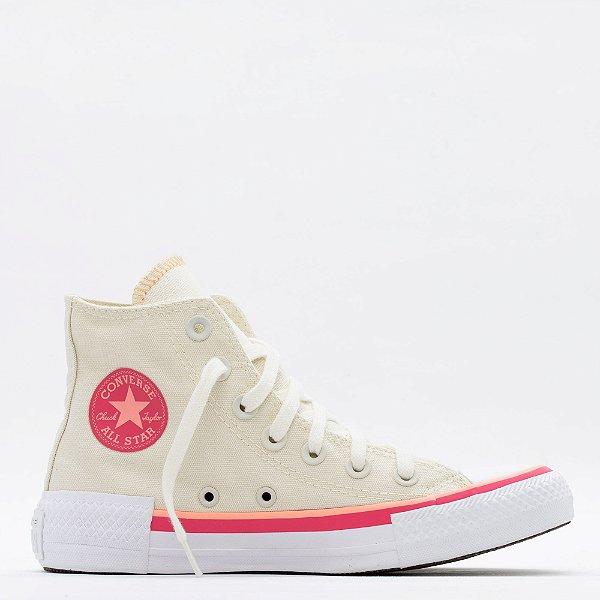 Tênis Converse All Star Chuck Taylor Hi - Bege/Coral