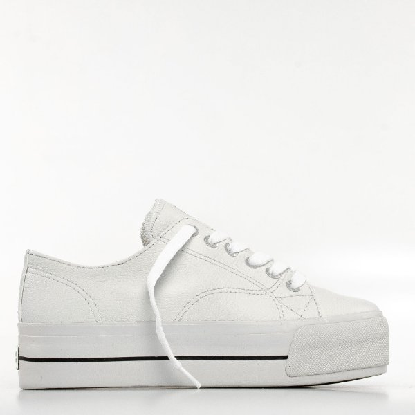 Tênis Mary Jane Groove Leather Feminino - Branco