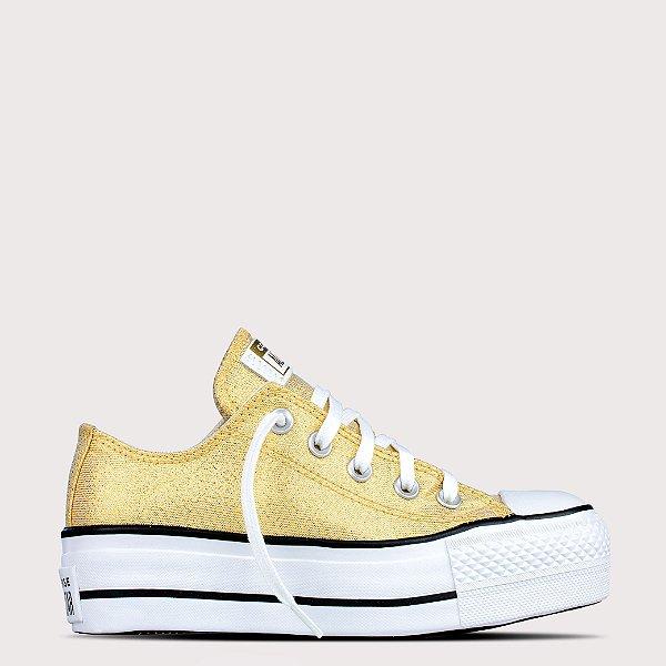 Tênis Converse All Star Chuck Taylor Lift - Ouro Glitter