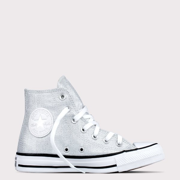 Tênis Converse All Star Chuck Taylor Hi - Prata Puro Glitter