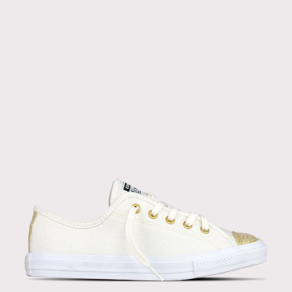 Tênis Converse All Star Chuck Taylor Dainty Ox - Bege Claro/Ouro