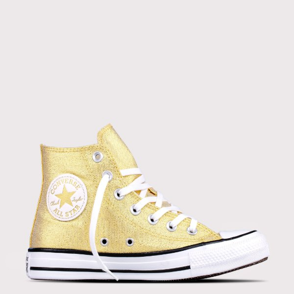 Tênis Converse All Star Chuck Taylor Hi - Ouro Glitter