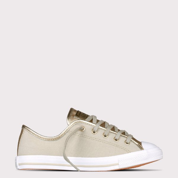 Tênis Converse All Star Chuck Taylor Dainty Ox - Bege Claro/Ouro Claro