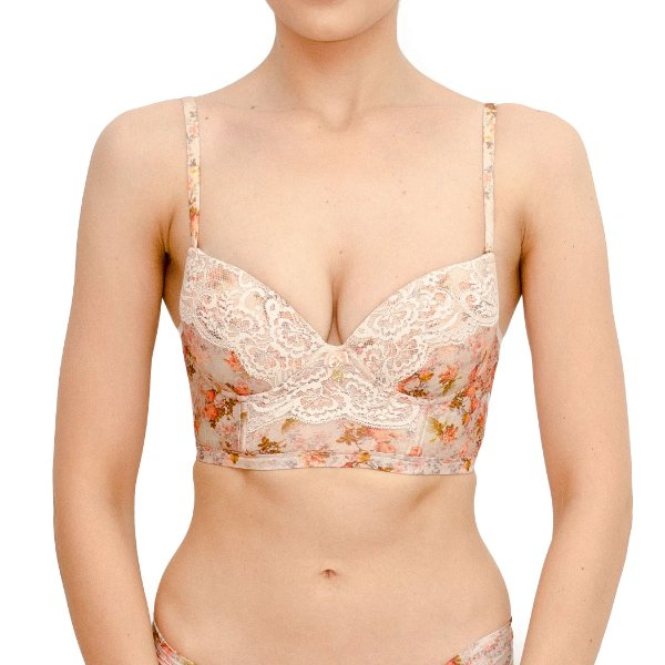 Sutiã Estampado com Detalhe em Renda Luxo com Bojo - Nude