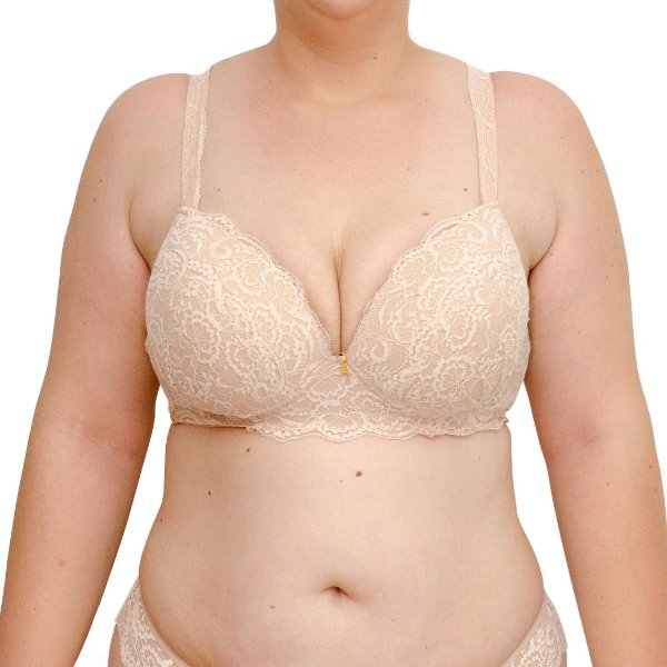 Sutiã Plus Size em Renda com Bojo -  Nude