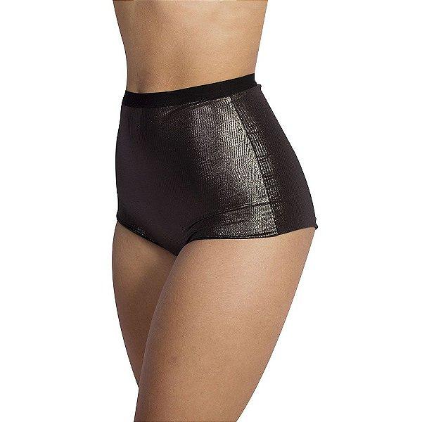 Calcinha Hot Pant Preta com Brilho em Microfibra