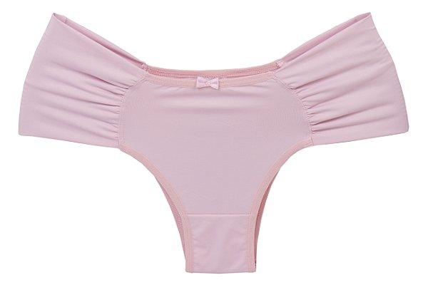 Calcinha Margot rosa em microfibra com laterais largas franzidas