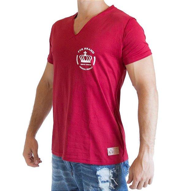 Camiseta Gola V - Vermelha