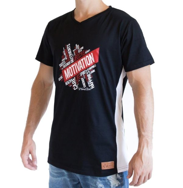 Camiseta Longline - Motivation - Preta