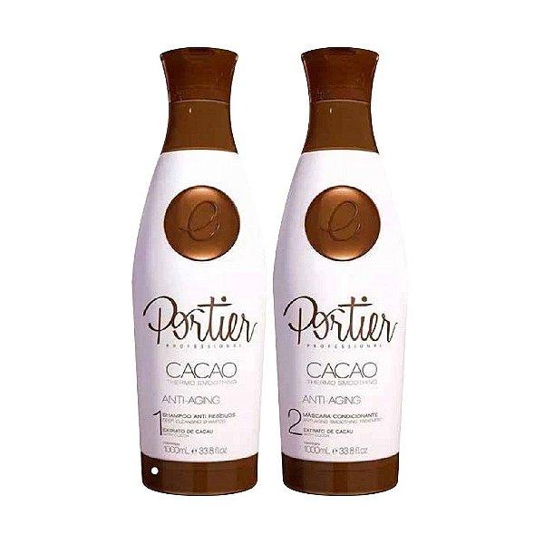 Portier Cacao Thermo Smoothing Anti Aging Escova Progressiva Profissional 2x1000ml
