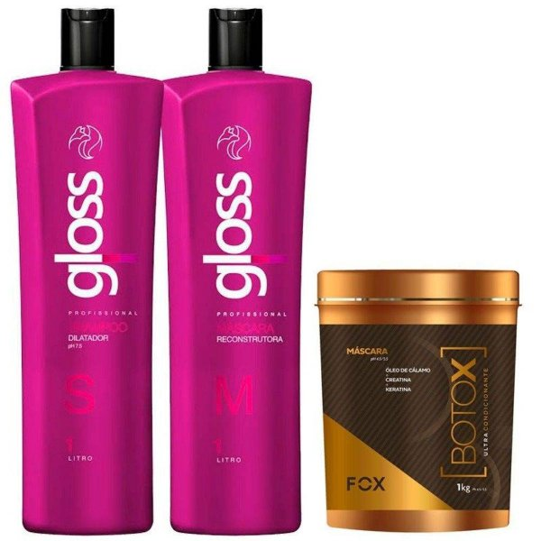 Kit Escova Progressiva Fox Gloss + Botox Máscara 1Kg