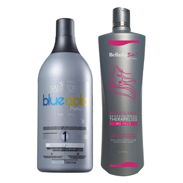 Belinha Sim Escova Progressiva Selagem Térmica + Shampoo Blue Gold Premium 1000ml