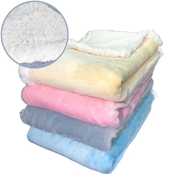 Manta Cobertor para Bebê Dupla Face Sherpa Microfibra Soft Smoofy