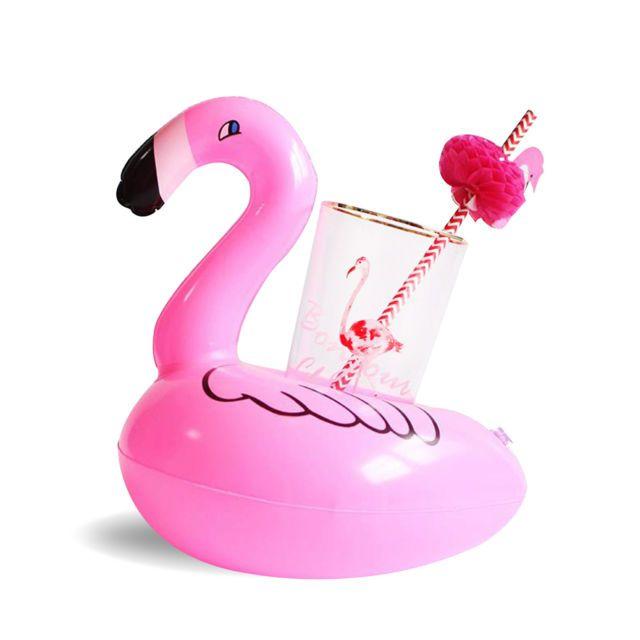 Boia Porta Copos Flamingo Inflável para Piscina e Festa
