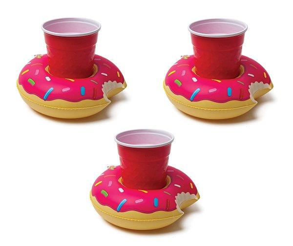 Kit Boia Porta Copos Donut Morango Inflável 3 Unidades Piscina e Festa