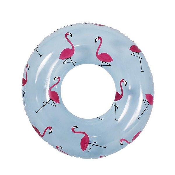 Boia de Piscina Inflável Circular Estampada Flamingo 108 cm