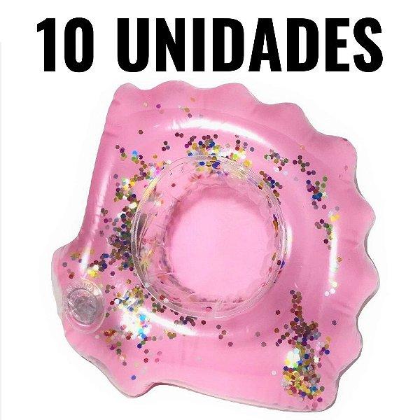 Kit Boia Porta Copos Concha com Glitter Inflável 10 Unidades Piscina e Festa