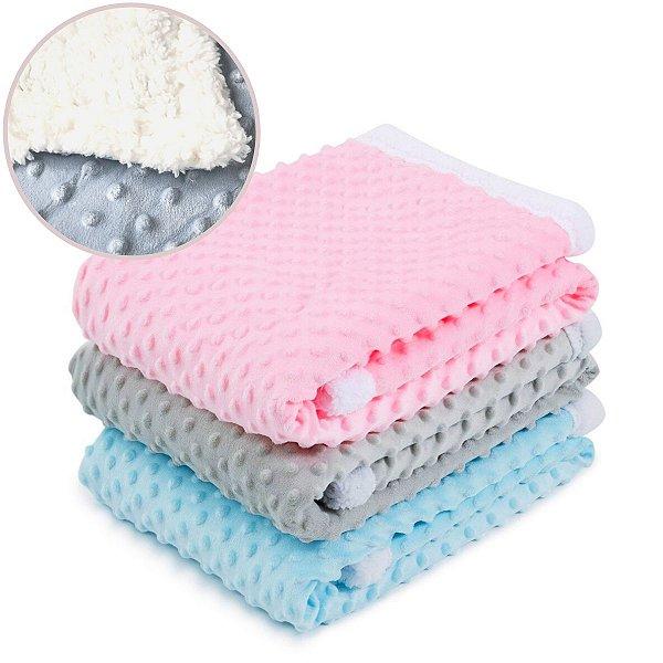 Manta Cobertor para Bebê Pipoquinha Sherpa Microfibra Soft