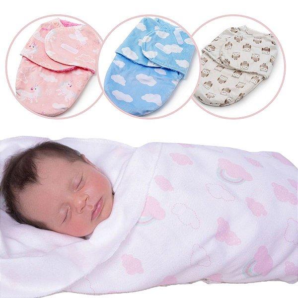Cueiro Forrado Microfibra Manta Soft Enroladinho Bebê