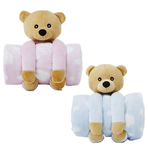 Manta Cobertor Com Pelúcia Para Bebê Microfibra Ursinho