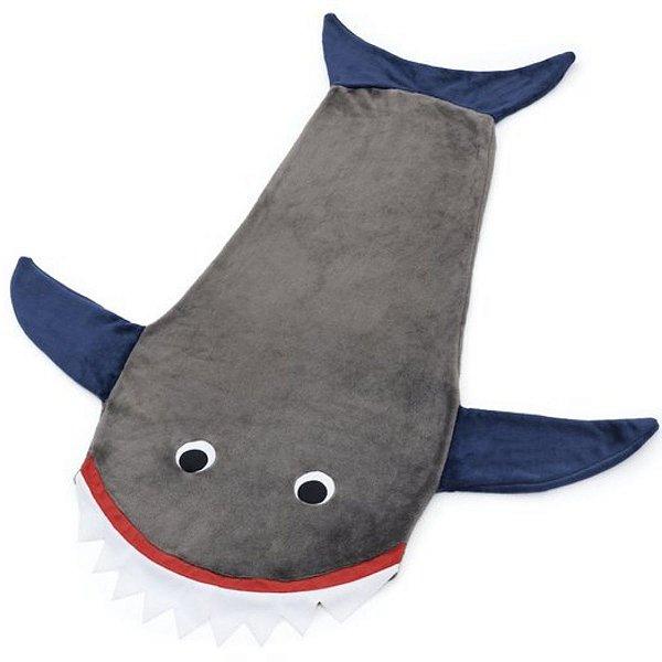 Cobertor Infantil Microfibra Soft Tubarão Cinza