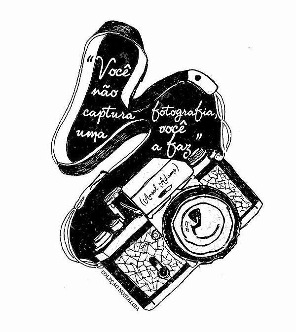 Camiseta Raglan Longline 3/4 - Masculina - Máquina fotográfica