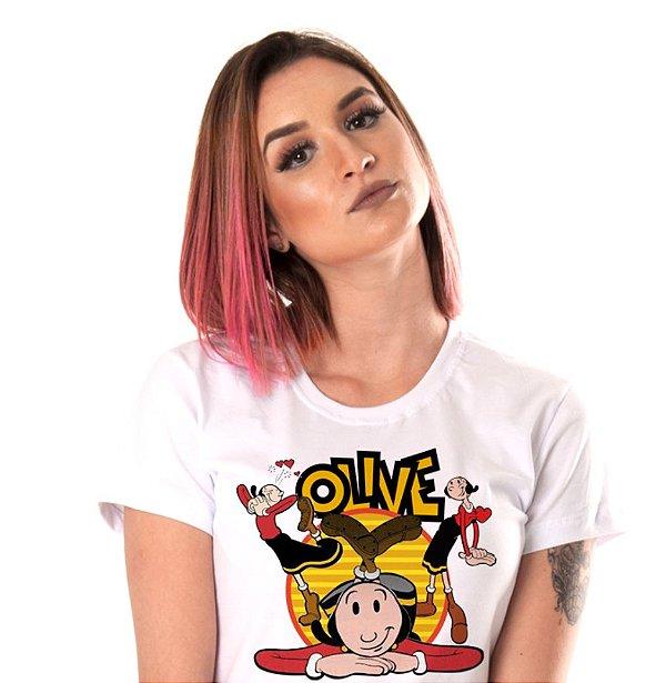 camiseta branca feminina - Olivia Palito