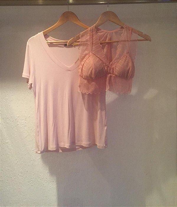 Combo Blusa e Top Rosé