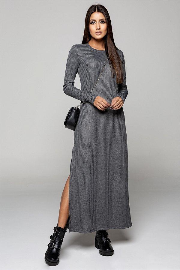 Vestido Longuete Cinza Mescla