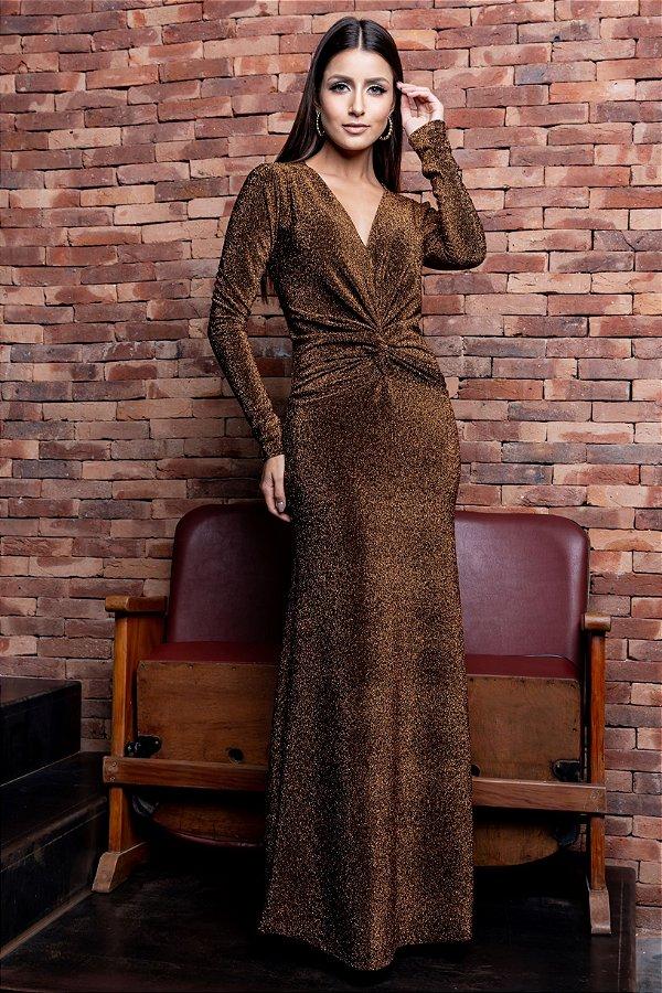 Vestido Longo Lurex Gold