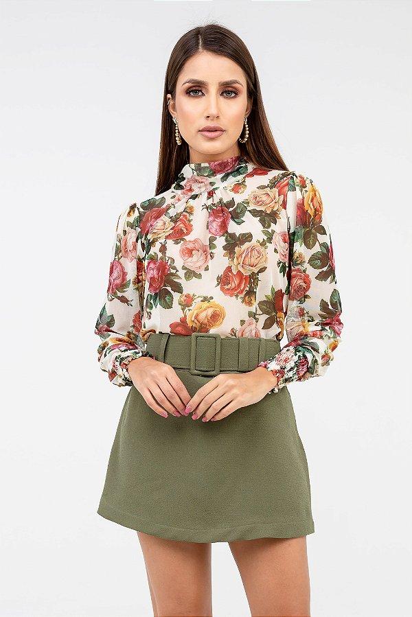 Blusa Lastex Tule Floral - Off