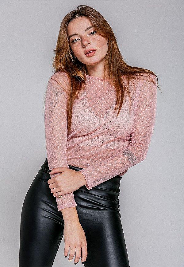 Blusa Tule Betina - Rose