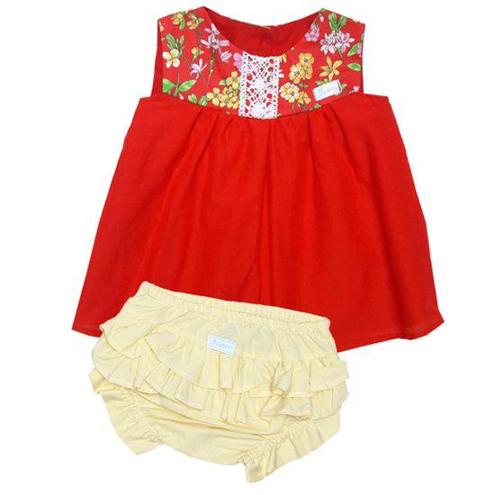 Vestido batinha vermelho real com calcinha