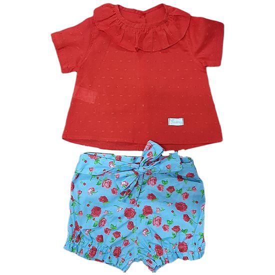 Conjunto floral vermelho com Camisa golinha e short